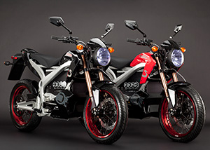 2011 Zero S Electric Motorcycle: studio pair black and red