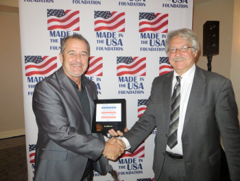 Scot Harden accepting the Made In The U.S.A. Hall of Fame award from Joel Joseph, Chairman for the Made In The U.S.A. Foundation