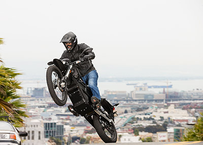 A rider samples the abundant torque delivered by Zero Motorcycles' Z-Force motor