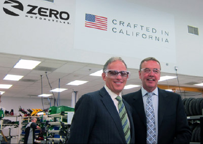 Export-Import bank Chairman Fred P. Hochberg and Zero Motorcycles CEO Richard Walker at Zero Motorcycles' california factory