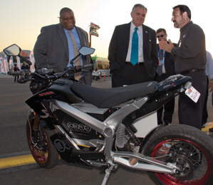U.S. Secretary of Transportation Ray LaHood viewing Zero S Motorcycle
